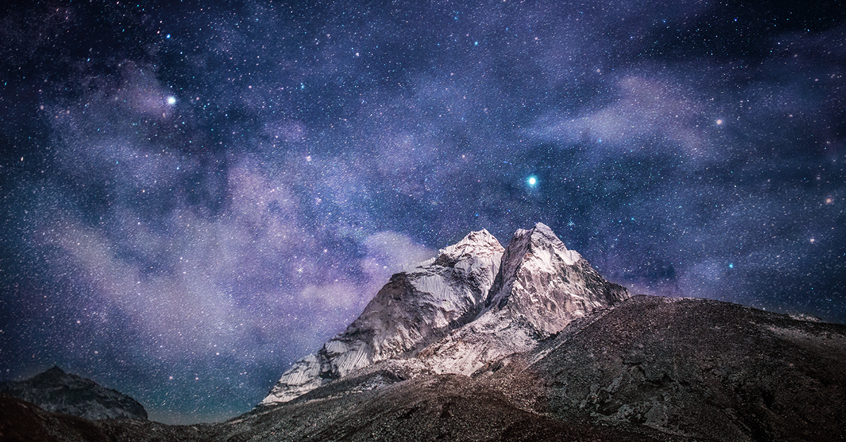 Mountain set against a starry backdrop